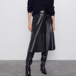 Zara Belted Faux Leather Skirt